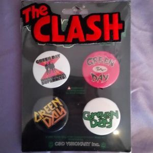 Jewelry - Bundle Of 4 Green Day Pins & 1 Clash Patch